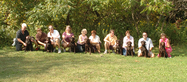 Misty and LT with their litter at their reunion on September 17, 2006